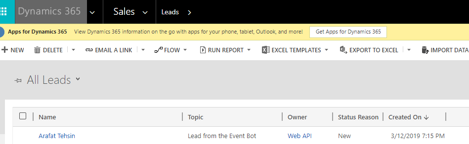 Extending Dynamics 365 with Bots: Lead Generation